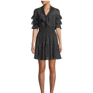 NWT Rebecca Taylor Ruffle Cheetah Tie-Neck Dress